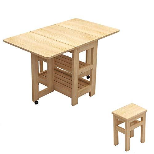 Opvouwbaar Tafel-Opvouwbaar Bureau Eenvoudig en Retractable All-hout klaptafel Thuis eettafel, afgeronde hoeken, Moving Universal Wheel, milieuvriendelijke verf, geen geur, Stevige Houten Kruk, sterk