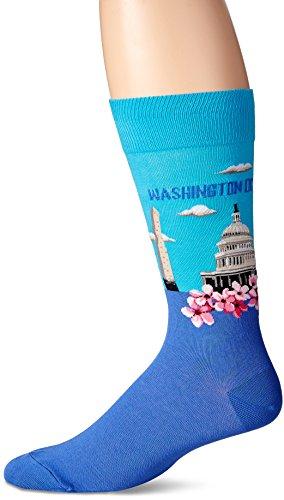 Hot Sox Men's Fashion Travel Crew Socks, Washington DC (Light Blue), Shoe Size: 6-12