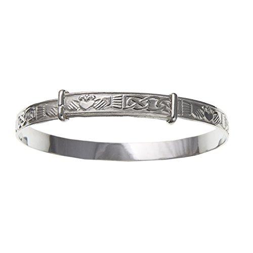 Irisch-keltischer Claddagh-Armreif für Damen, erweiterbar, 925er Sterlingsilber