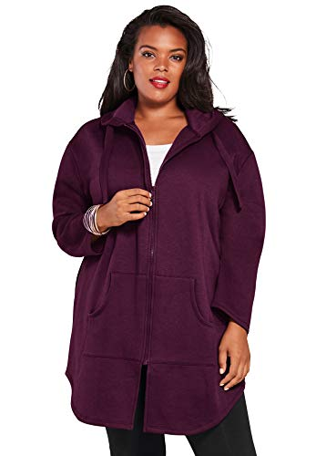 Roaman's Women's Plus Size Fleece Zip Hoodie Jacket - 4X, Dark Berry