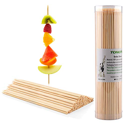 """TONGYE Premium Natural BBQ Bamboo Skewers Shish Kabob, Grill, Appetizer, Fruit, Corn, Chocolate Fountain, Cocktail More Food, More Size Choices 4""""/6""""/8""""/10""""/12""""(200 PCS)"""