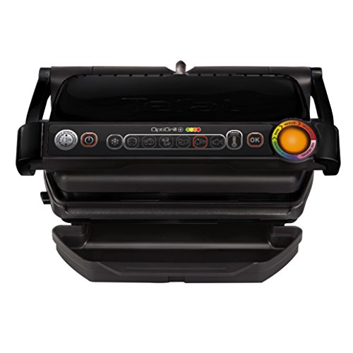 Tefal GC712812 Optigrill + Black Edition Plancha de Cuisine 2000 W 6 Modes de Cuisson, Indicateur de Progrès, Capteur D'Épaisseur, Tablettes Amovibles, Amovibles et Passent au Lave Vaisselle