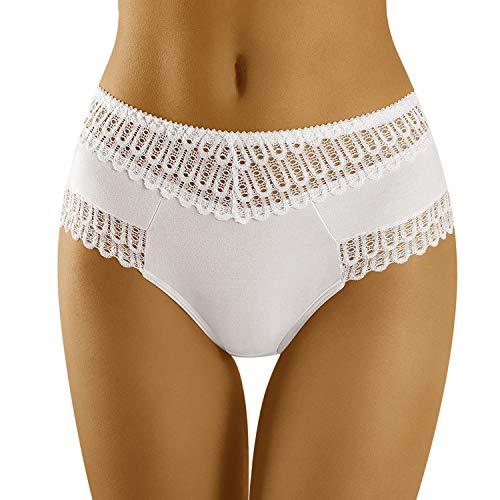 Wolbar Damen Slip Unterhose Ajour-Spitze Hoch Unterwäsche WB416, Weiß,Large