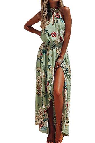 LATH.PIN - Vestito da spiaggia estivo da donna, motivo floreale, con spalle scoperte e fessura...