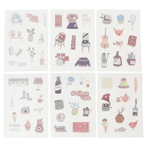 moin moin シール シート 和紙シリーズ | 観葉植物 洋服 ファッション カメラ キーボード 楽器 | 6枚セット...