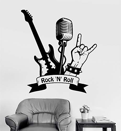 Vinilos De Pared Decorativos Cita de arte Rock Roll Guitarra Micrófono Pegatinas musicales Sala de estar Sala de niños Sala de música