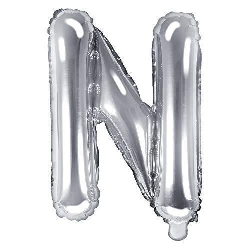 DekoHaus Folienballons Buchstaben / Zahlen Höhe 35 cm Farben: Gold oder Silber (N, Silber)