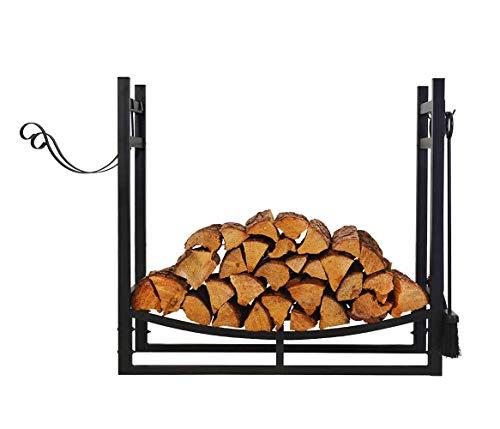 Patio Watcher 3-Foot Firewood Rack Log Rack Indoor Outdoor Fire Wood Storage Log Holder with...