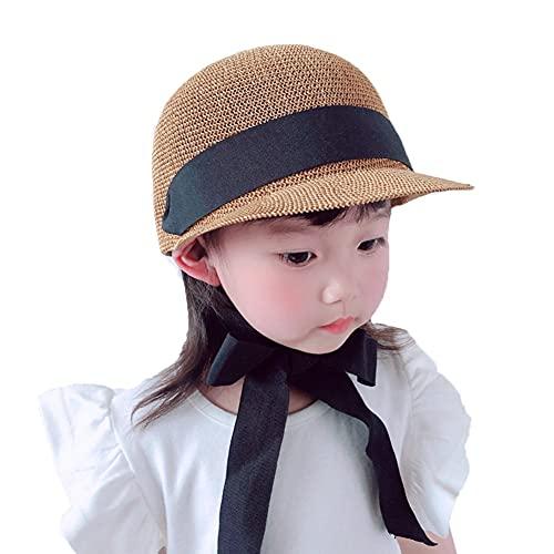 ZHANGYAN Sombrero de pajitas para niños con Sombrero Ecuestre Transpirable Cinta de Sol Visera de 2-8 años (Color : Khaki, Size : 48-52cm/18.8-20.4in)