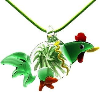 YUANYUAN520 Animal Gallo Pollo Murano Cristal del Colgante Collar de la joyería Caja de Regalo de Embalaje Joyería (Main Stone Color : Green)