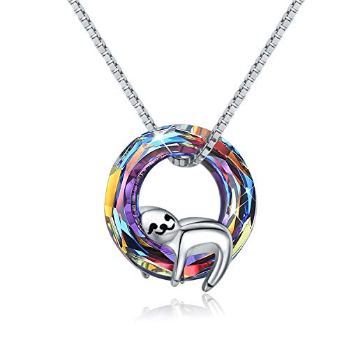 Sloth Gifts for Women Girls 925 Sterling Silver Cute Sloth Pendant Necklace Made with Crystal, Sloth Jewellery Gifts for Girlfriend Wife