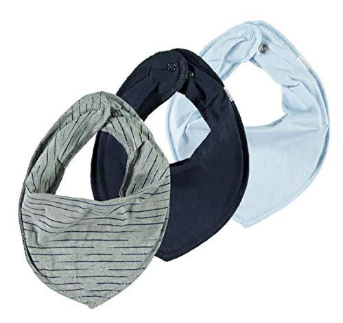 NAME IT 3er Set UNI ~ verschiedene ~ Baby Dreieckstücher Halstuch Lätzchen 3 Stück ~ zur Auswahl (grau-hellblau-dunkelblau)
