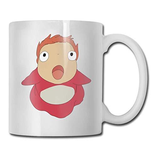 N\A Ponyo Ghibli Home Taza de té de cerámica para Oficina Taza de café Blanco de 11 onzas