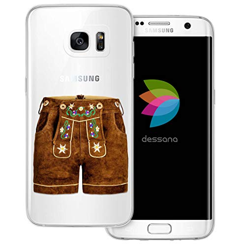 dessana Oktoberfest München Transparente Silikon TPU Schutzhülle 0,7mm dünne Handy Tasche Soft Case für Samsung Galaxy S7 Edge Lederhose kurz