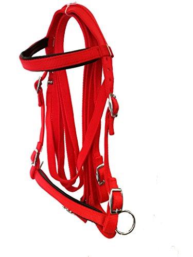 JF-Reitsport Trensen Set Nylon mit Zügeln Gebisslos, rot, Full