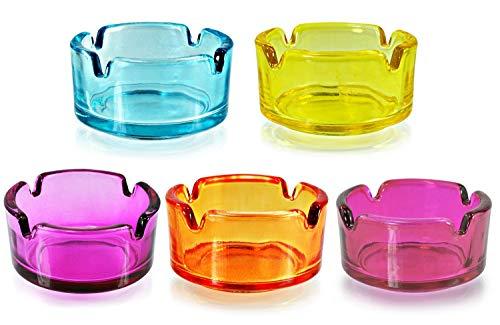 Posacenere 1 Set 5 colori in vetro 7 cm di diametro, multicolore, 15 pezzi