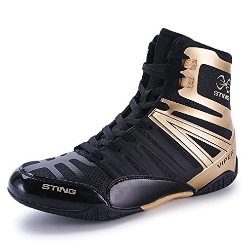 Boxschuhe Wrestling Schuhe Muay Thai Kickboxen Sparring Boxers Trainers Kampfsport Schuhe Bodybuilding Boxen Stiefel Sport   Athletik Gummisohle (43,schwarzes Gold)