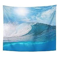 JOOCAR 青い海の風景タペストリー大きな波海の波の壁掛け居間の寝室の寮の装飾的な芸術のタペストリー 150cm x 150cm