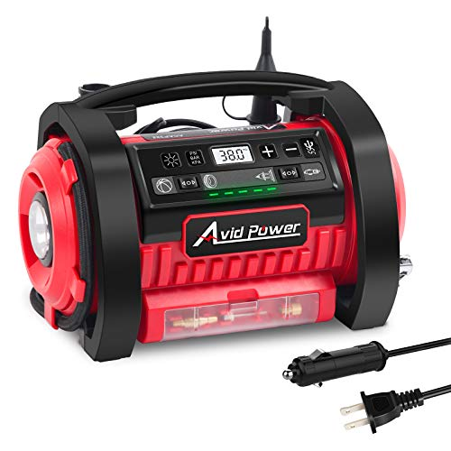 Avid Power Tire Inflator Air Compressor, 12V DC / 110V AC Dual Power Tire Pump with Inflation and Deflation Modes
