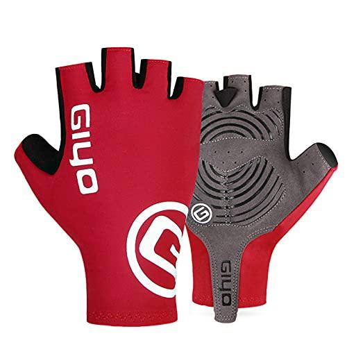 Fahrradhandschuhe Half Finger Gel Sport Rennrad Handschuhe Damen Herren Sommer Rennrad Handschuhe Mountainbike - Red Half Finger, XXL