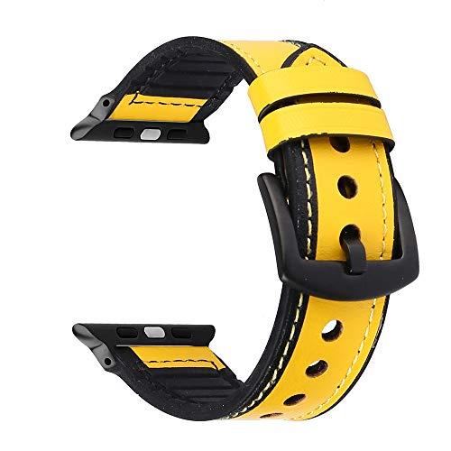 XIALEY Cinturino per Apple Watch Cinturini 44Mm 42Mm 40Mm 38Mm, Banda Sostituzione Cinghia Sportivo in Pelle Stile Silicone Ibrido per Iwatch Serie 5/4/3/2/1 Fibbia Nera,Giallo,42mm/44mm
