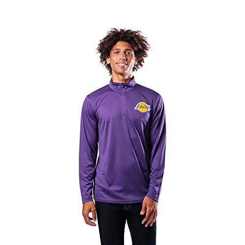 Ultra Game NBA Los Angeles Lakers Mens Quarter-Zip Pullover Active Shirt, Team Color, Medium