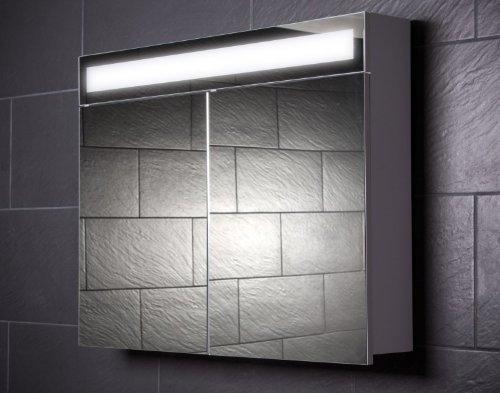Galdem Spiegelschrank EVEN90 / großer Badezimmerschrank 90cm / 2 türig/mit Beleuchtung T5 Leuchtstofflampe/Softclose Funktion/Steckdose/Badezimmer Spiegel