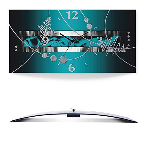 Artland Wanduhr ohne Tickgeräusche 3D Alu Quarz Uhr lautlos 60x30 cm Silber abstrakt auf Petrol S7LW
