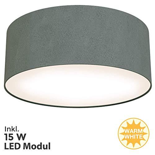 Briloner Leuchten LED Deckenleuchte, Stoffleuchte, Grau, 1.350 Lumen, 3.000 Kelvin, Sonstige Metalle