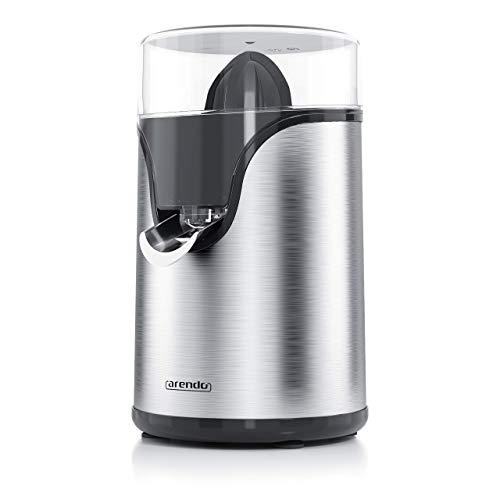 Arendo - Zitruspresse elektrisch in Edelstahl - 100 W < Zitronenpresse Orangenpresse Limettenpresse - Start-Stopp-Automatik - großer und kleiner Presskegelaufsatz - Siebeinsatz - BPA frei