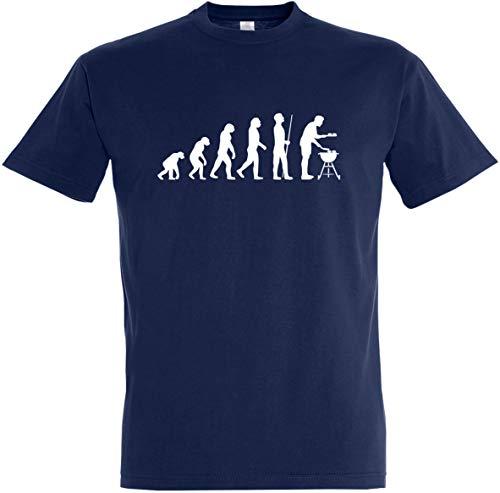Herren T-Shirt Grill Evolution (3XL, Dunkelblau)