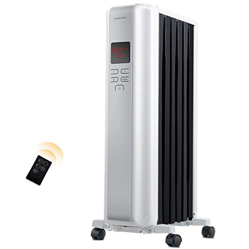 Space Heater, 1500W Oil Filled Radiator Heaters Indoor Portable Electric with Remote, Built-in 24-Hrs Auto On/Off Timer, Digital Thermostat, ECO Mode, Safe and Quiet Heater for Home Office Use, Black