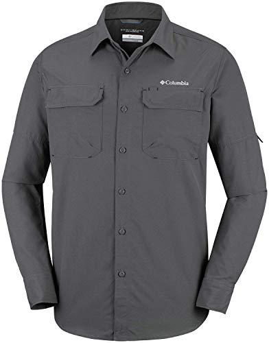 Columbia XO0665 Camisa de Excursionismo de Manga Larga para Hombre, Silver Ridge II Long Sleeve Shirt, Gris (Grill)), M