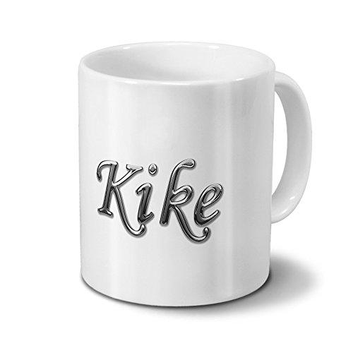 printplanet Tasse mit Namen Kike - Motiv Chrom-Schriftzug - Namenstasse, Kaffeebecher, Mug, Becher, Kaffeetasse - Farbe Weiß