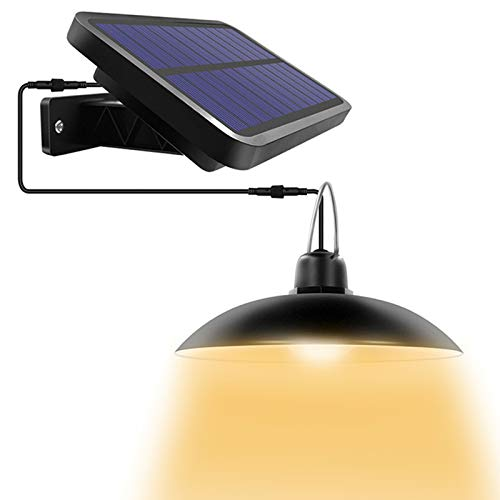 Solar Pendant Lights, AMORNO Solar Outdoor Indoor Adjustable Led Shed Light with Remote Control, Waterproof Hanging Solar Lamp for Garden Patio Home Decor