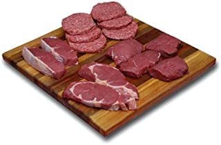 Bison Burgers & Steaks Combo Pack: 100% All-Natural, Grass-Fed and Grain Finished North American Bison Meat with no Growth Hormones or Antibiotics - USDA Tested - 14 Piece of Tender, Flavorful Meat