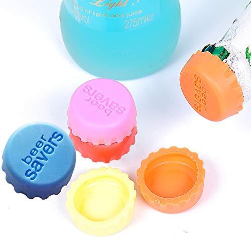Ealicere 6er Set Silikon–Kronkorken,Flaschenverschluss, Beer Saver, kreative Bunte Bier oder Wein Kapseln, Umweltfreundlicher Stöpsel aus Silicon wiederverwendbar(Zufällige Farbe)