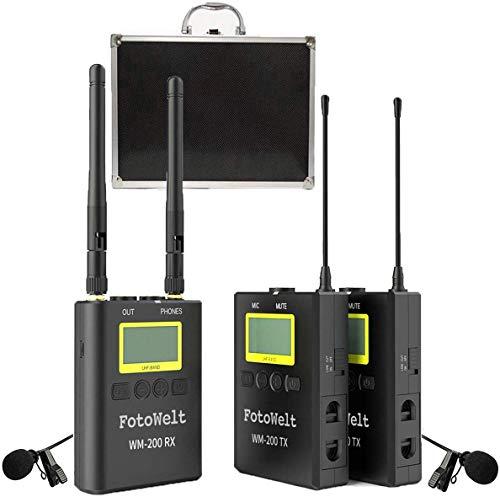 fotowelt 100 Kanäle WM-200 Kabellos Lavalier Mikrofon Set Ansteckmikrofon Wireless für Camcorder, DSLR-Kameras Sprache Vortrag Bühnen Aufführung