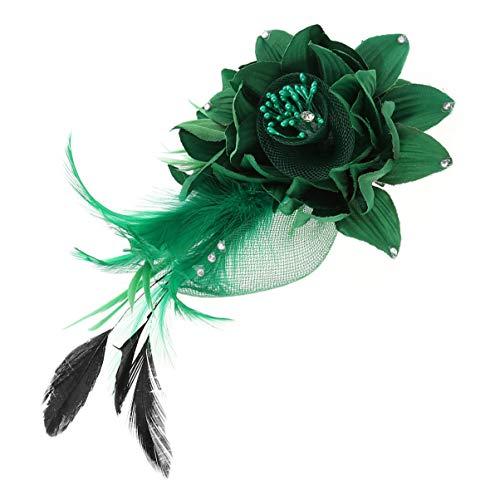 Luxshiny Broche de Flores de Plumas Pinza de Pelo Fascinator para Mujer Fiesta de Té Boda Derby Cóctel Horquillas para El Cabello (Verde)