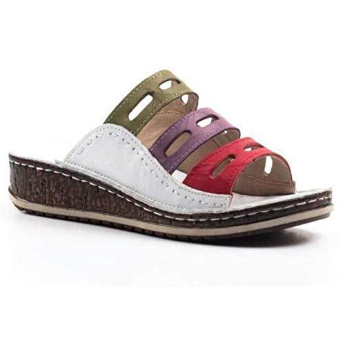 HLONGG Los Deslizadores del Verano Sandalias Zapatillas De Baño De Dos Colores Zapatillas Sandalias De Cuña con Plataforma Impermeable De Tacón Alto,Bianco,37