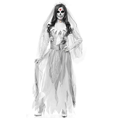 TcooLPE Frauen Cosplay Kostüme, New Halloween Schwarz Gaze Hexe Kostüm, Temperament Hexe Ghost Game Anzug Königin Anzug withWomen's Skull Printed Hexe Plus-Size Kleid Halloween Cosplay Party Jumpsuit