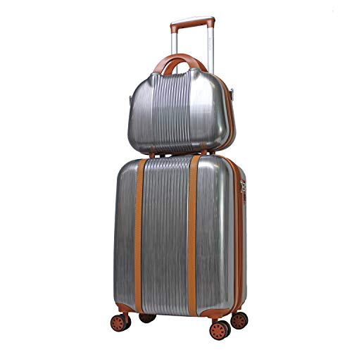 World Traveler Classique Hardside 2-PC Carry-On Spinner Luggage Set, Silver