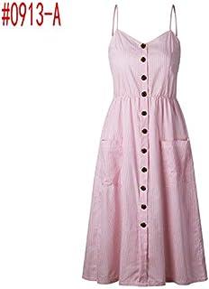 CEGFXCSW Dress Summer Women Dress 2019 Vintage Bohemian Floral Tunic Beach Dress Sundress Pocket Red White Dress Striped Female Brand
