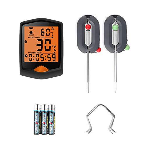 Termómetro inalámbrico para carne para parrilla, control remoto digital Bluetooth, sonda de metal con temporizador, para ahumador, barbacoa y termómetro