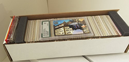 Baseball Collector's Box with 600 Cards Spanning 5 Decades, No Duplicates | Variety of Rookies, Stars & Commons | Includes Graded Card & Unopened Rack Pack | Shrink-wrapped in Cushioned White Gift Box