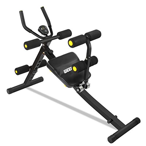 IDEER LIFE Core&Abdominal Trainers Abdominal Workout Machine,Whole Body Workout Equipment for Leg,Thighs,Buttocks,Rodeo,Height Adjustable Sit-up Exerciser Home Ab Trainer with LCD Display.White 09036