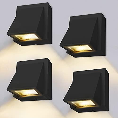 Lámpara de pared – 4 unidades, 8 W LED lámpara de pared exterior/interior, luz blanca cálida 3000 K, lámpara de pared exterior IP65 para dormitorio, salón, baño, negro [Clase energética A+]
