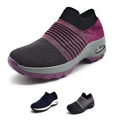Zapatillas Deportivas Mujer Calcetin Elasticas sin Cordones Muy Comodas Transpirable Antideslizante para Correr Andar Trabajar Purple 38