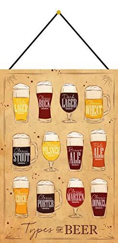 Metalen bord 20 x 30 cm gebogen met koord overzicht biersoorten lichte pils magazijn bok allebei beer decoratie geschenk bord