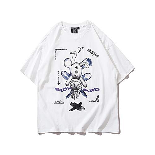 DREAMING-Una Sudadera De Verano De Manga Corta con Una Camiseta De Algodón De Cuello Redondo Estampada Suelta para Hombres Y Mujeres White X-Large